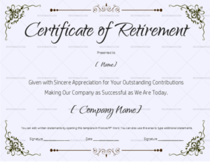 22+ Retirement Certificate Templates – In Word And Pdf | Doc in Retirement Certificate Template