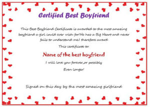23 Best Boyfriend Certificates That Can Make Your Loved Ones with Quality Best Girlfriend Certificate 10 Love Templates