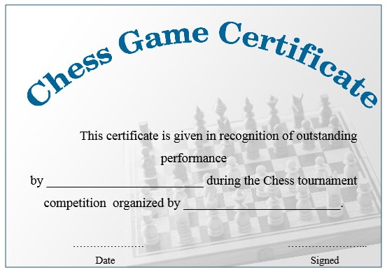 23 Free Printable Chess Certificates You Can Use For Chess pertaining to Chess Tournament Certificate Template Free 8 Ideas