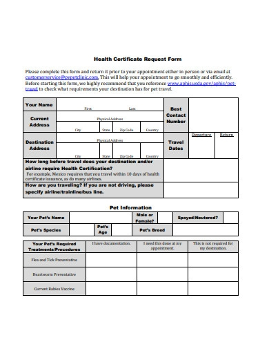 23+ Health Certificate Form Templates - Pdf, Docs | Free For with regard to Veterinary Health Certificate Template