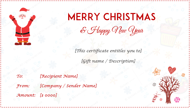 24+ Christmas & New Year Gift Certificate Templates for Christmas Gift Certificate Template Free Download