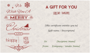 24+ Christmas & New Year Gift Certificate Templates With Regard To Christmas Gift Certificate Template Free