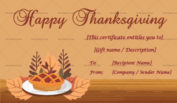 24+ Thanksgiving Gift Certificate Templates - Customizable within Unique Thanksgiving Gift Certificate Template Free