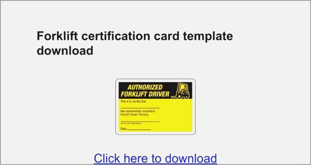 25 Create Forklift Certification Card Template Xls In Regarding Forklift Certification Template
