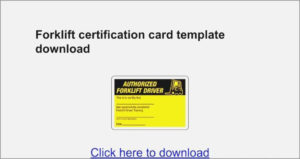 25 Create Forklift Certification Card Template Xls In with regard to Forklift Certification Card Template