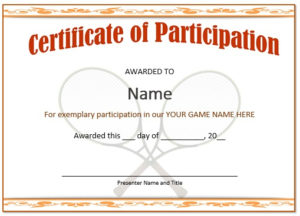 25 Free Tennis Certificate Templates – Download, Customize in Fresh Tennis Participation Certificate