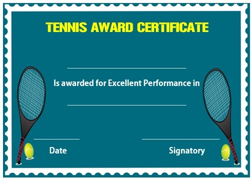 25 Free Tennis Certificate Templates - Download, Customize in Tennis Achievement Certificate Template