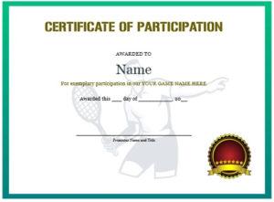 25 Free Tennis Certificate Templates – Download, Customize regarding Fresh Tennis Participation Certificate