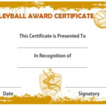 25 Volleyball Certificate Templates – Free Printable Pertaining To Volleyball Tournament Certificate