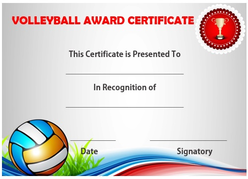 25 Volleyball Certificate Templates - Free Printable regarding Quality Volleyball Mvp Certificate Templates