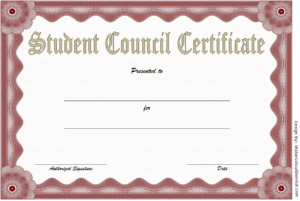 2Nd Student Council Certificate Template Free | Certificate with New Student Council Certificate Template Free