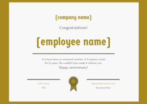 30 Employee Work Anniversary Ideas, Messages, Emails And with Certificate Of Job Promotion Template 7 Ideas