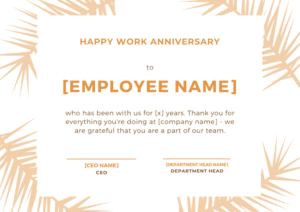 30 Employee Work Anniversary Ideas, Messages, Emails And with regard to Best Employee Anniversary Certificate Template