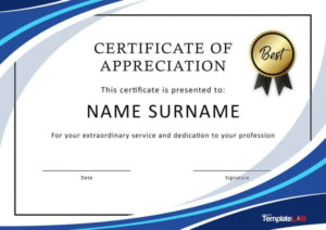 30 Free Certificate Of Appreciation Templates And Letters In with regard to Quality Felicitation Certificate Template