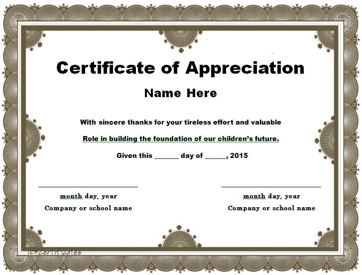 30 Free Certificate Of Appreciation Templates And Letters with regard to Free Employee Appreciation Certificate Template
