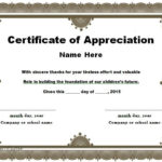 30 Free Certificate Of Appreciation Templates And Letters With Regard To New Certificates Of Appreciation Template