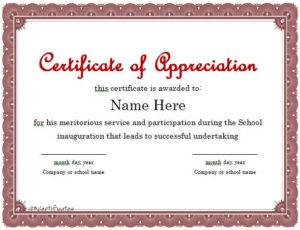 30 Free Certificate Of Appreciation Templates – Free pertaining to Free Certificate Of Appreciation Template Downloads