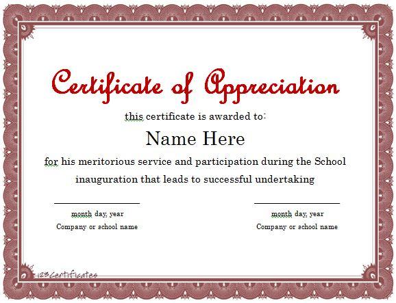 30 Free Certificate Of Appreciation Templates - Free within Unique Free Template For Certificate Of Recognition