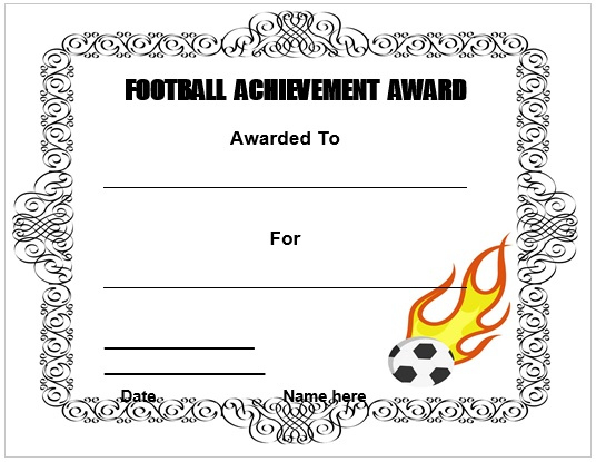 30 Free Printable Football Certificate Templates - Awesome intended for Youth Football Certificate Templates