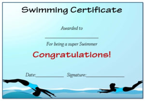 30 Free Swimming Certificate Templates : Printable Word inside Best Swimming Achievement Certificate Free Printable