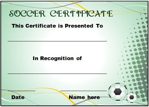 30 Soccer Award Certificate Templates - Free To Download regarding Soccer Certificate Template Free 21 Ideas