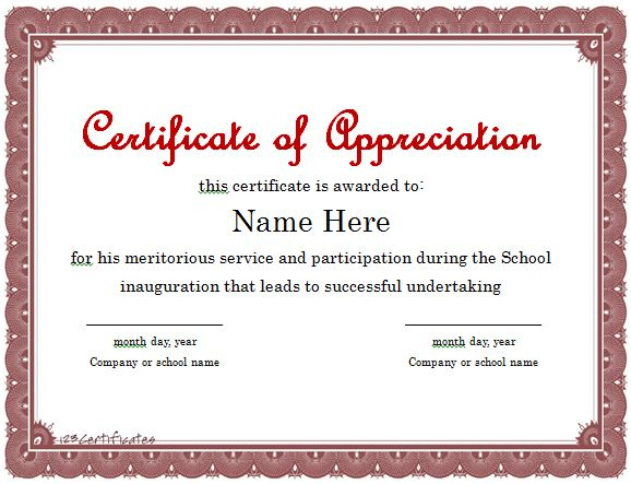 31 Free Certificate Of Appreciation Templates And Letters for Fresh Certificate Of Appreciation Template Doc