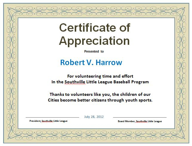 31 Free Certificate Of Appreciation Templates And Letters pertaining to Thanks Certificate Template