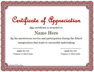 31 Free Certificate Of Appreciation Templates And Letters with regard to Certificate Of Recognition Word Template