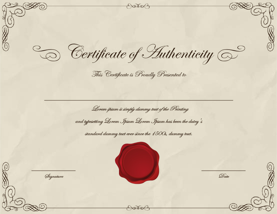 37 Certificate Of Authenticity Templates (Art, Car for Certificate Of Authenticity Free Template