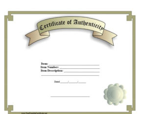 37 Certificate Of Authenticity Templates (Art, Car intended for Certificate Of Authenticity Free Template