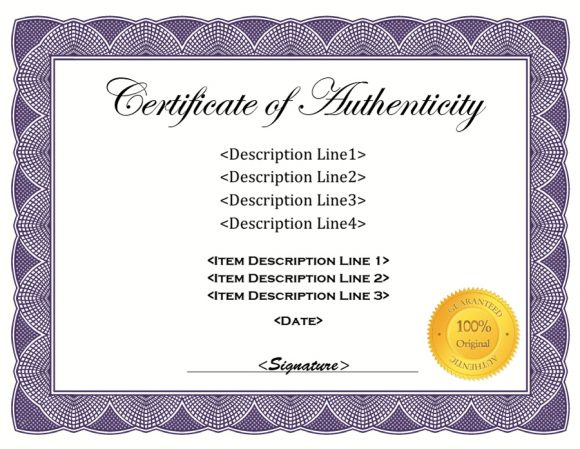 37 Certificate Of Authenticity Templates (Art, Car within New Certificate Of Authenticity Free Template