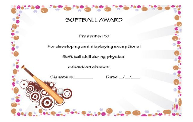 39+ Free Softball Award Certificates Templates - Ideas And in Best Softball Certificate Templates