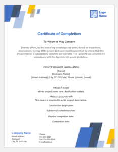 4 Certificate Templates For Completion Of A Project   Word inside Best Certificate Template For Project Completion