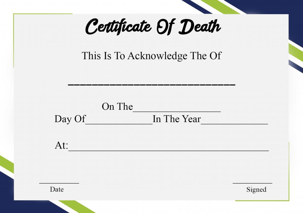 4+ Sample Printable Certificate Of Death Template intended for Quality Death Certificate Template