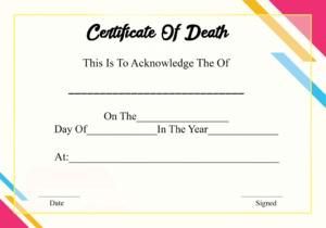 4+ Sample Printable Certificate Of Death Template within Fake Death Certificate Template