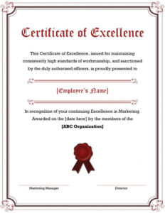 40 Amazing Certificate Of Excellence Templates – Printable pertaining to Best Award Of Excellence Certificate Template