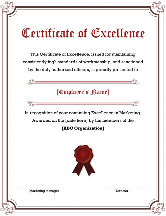 40 Amazing Certificate Of Excellence Templates - Printable regarding Outstanding Performance Certificate Template
