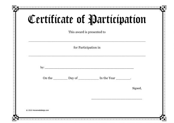 40+ Certificate Of Participation Templates - Printable Templates inside Certificate Of Participation Template Doc