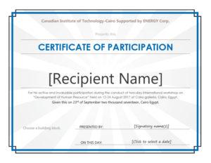 40+ Certificate Of Participation Templates – Printable Templates within Best Certificate Of Participation Template Doc 10 Ideas