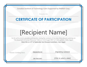 40+ Certificate Of Participation Templates – Printable Templates within Unique Certificate Of Participation Template Doc