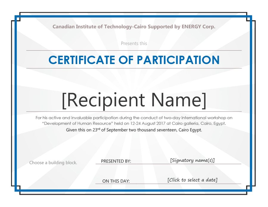 40+ Certificate Of Participation Templates - Printable Templates within Unique Certificate Of Participation Template Doc