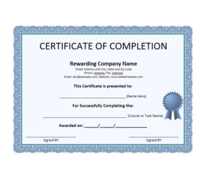 40 Fantastic Certificate Of Completion Templates [Word pertaining to Unique Free Certificate Of Completion Template Word