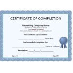 40 Fantastic Certificate Of Completion Templates [Word Within Unique Certificate Of Completion Free Template Word