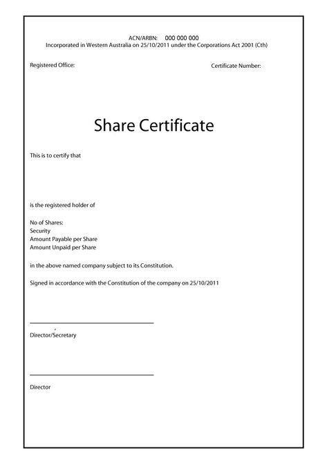 40+ Free Stock Certificate Templates (Word, Pdf) ᐅ Template within Share Certificate Template Australia