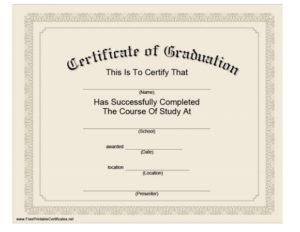 40+ Graduation Certificate Templates & Diplomas – Printable for Quality Free Printable Graduation Certificate Templates