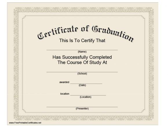 40+ Graduation Certificate Templates & Diplomas - Printable for Quality Free Printable Graduation Certificate Templates