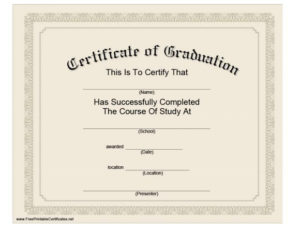 40+ Graduation Certificate Templates & Diplomas – Printable intended for Masters Degree Certificate Template