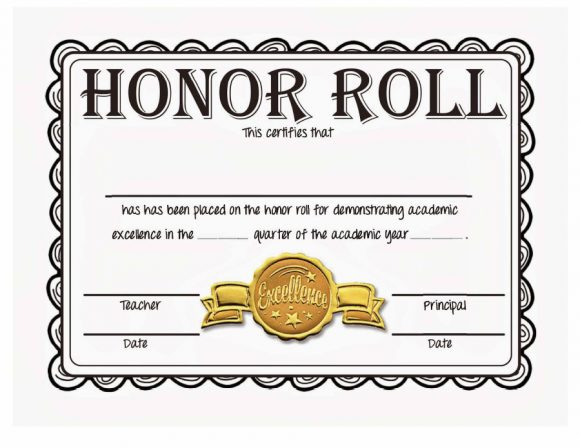 40+ Honor Roll Certificate Templates & Awards - Printable for New Editable Honor Roll Certificate Templates