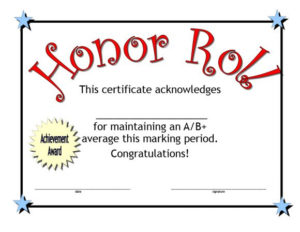 40+ Honor Roll Certificate Templates & Awards – Printable for Quality Honor Roll Certificate Template Free 7 Ideas