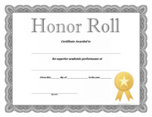 40+ Honor Roll Certificate Templates & Awards – Printable intended for Fresh Honor Award Certificate Templates